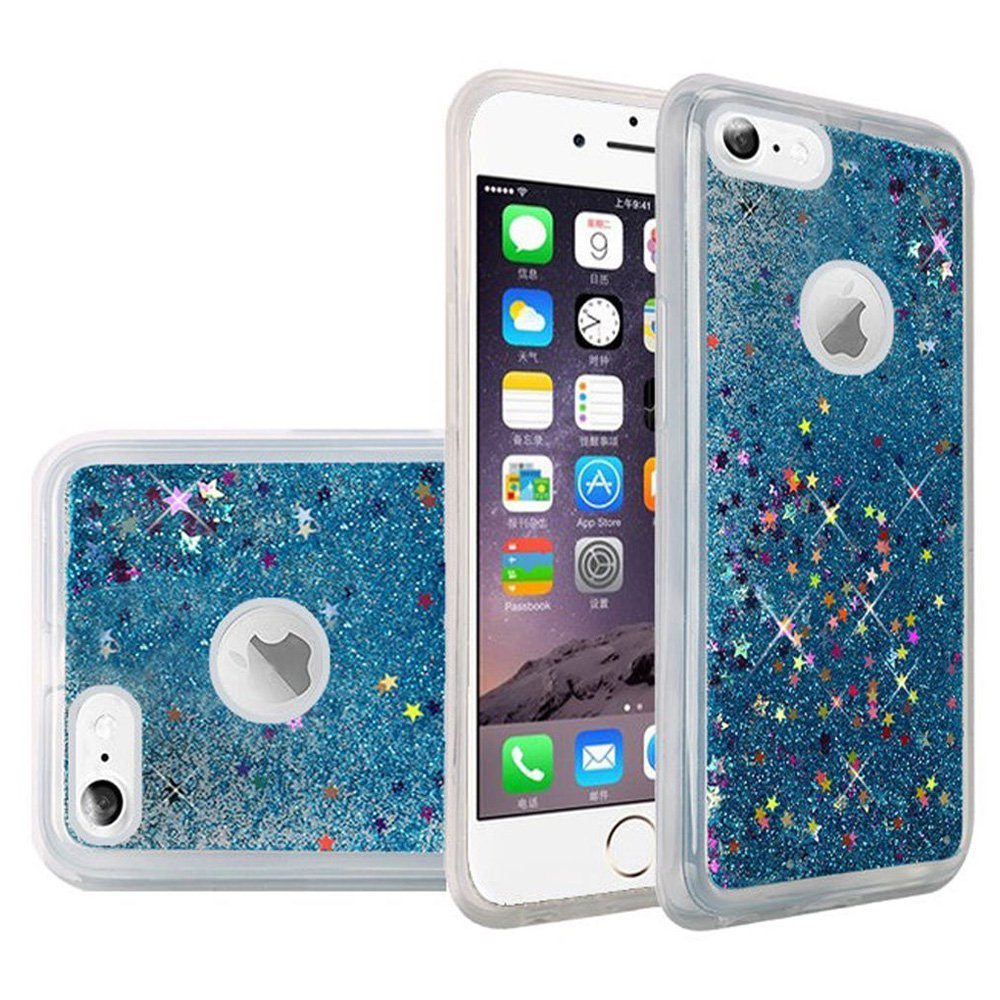 iPhone 6S Case Premium Luxury Glitter Sparkle Bling Hybrid Quicksand Designer Cover Fashion TPU Cover for Apple iPhone 6, iPhone 6S - Blue, Flexible, Slim, ShockProof