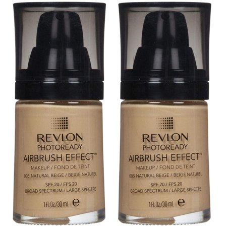 Revlon Photoready Airbrush Effect Makeup Foundation Natural Beige #005 (Pack of 2) + Facial Hair Remover Spring