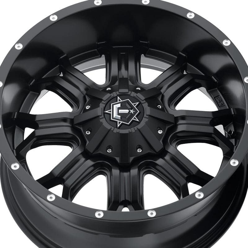TIS TIS535B Satin Black with CNC Milled Lip Accents and Chrome Star Cap Wheel 17X9