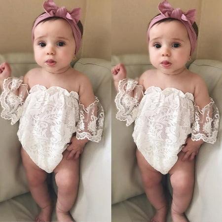 - Infant Baby Girls Lace Off Shoulder Romper Bodysuit Jumpsuit Outfits Sunsuit USA
