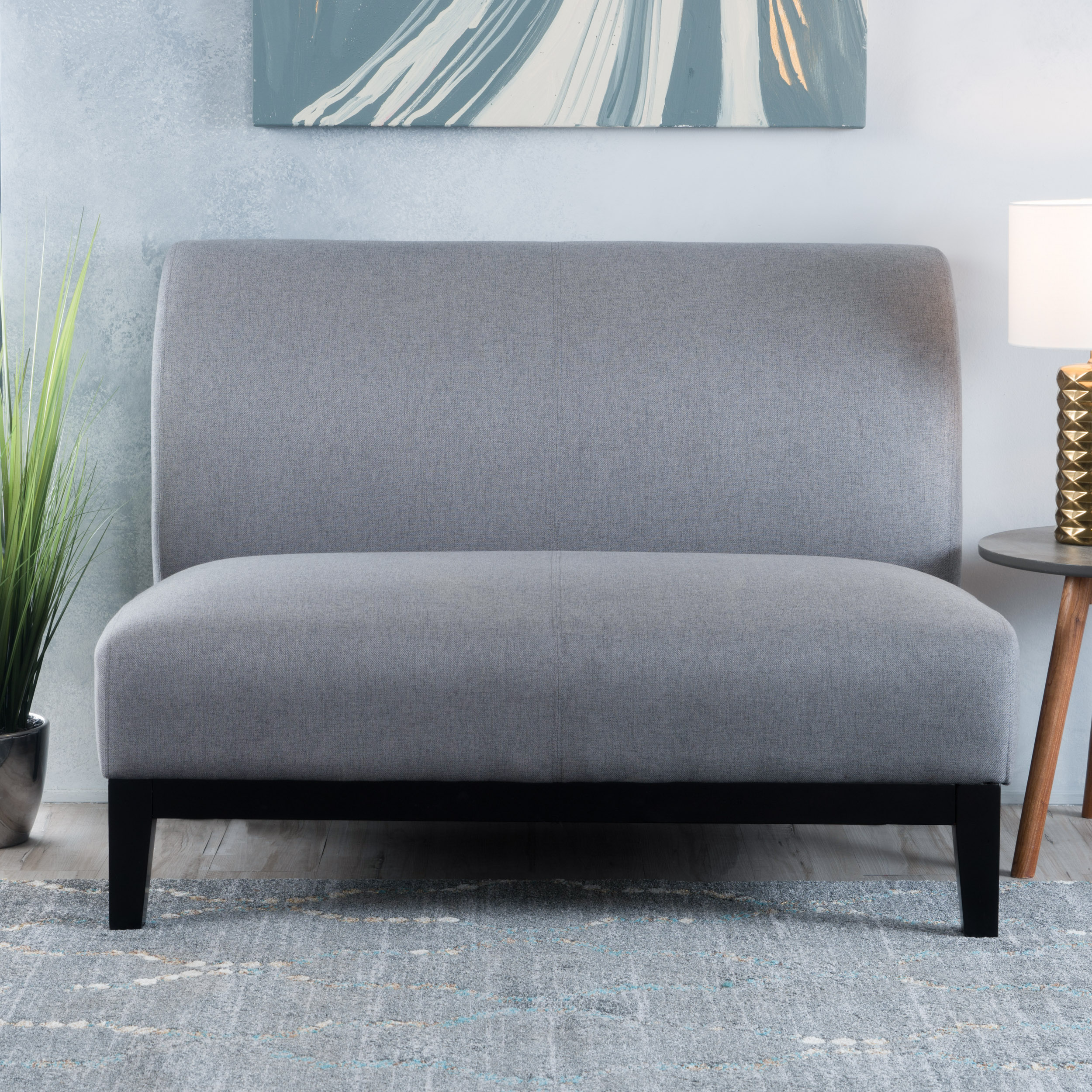 Noble House Fabric Settee,Grey