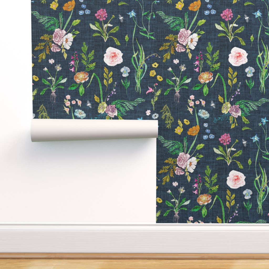 Peel And Stick Removable Wallpaper Floral Summer Daisy Navy Blue