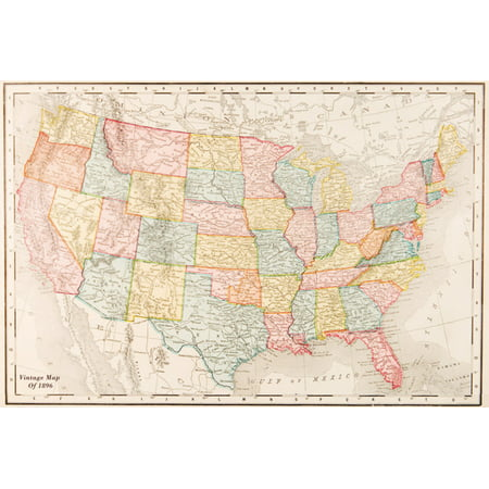 Map Of United States Usa Vintage Travel Decorative Reference Art Poster   36X24 Inch