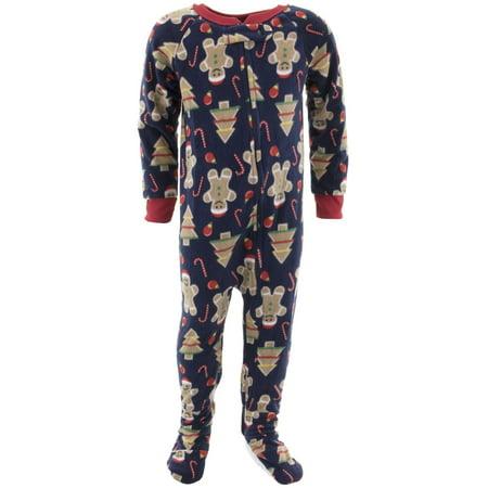 Mon Petit Boys Christmas Navy Footed Pajamas