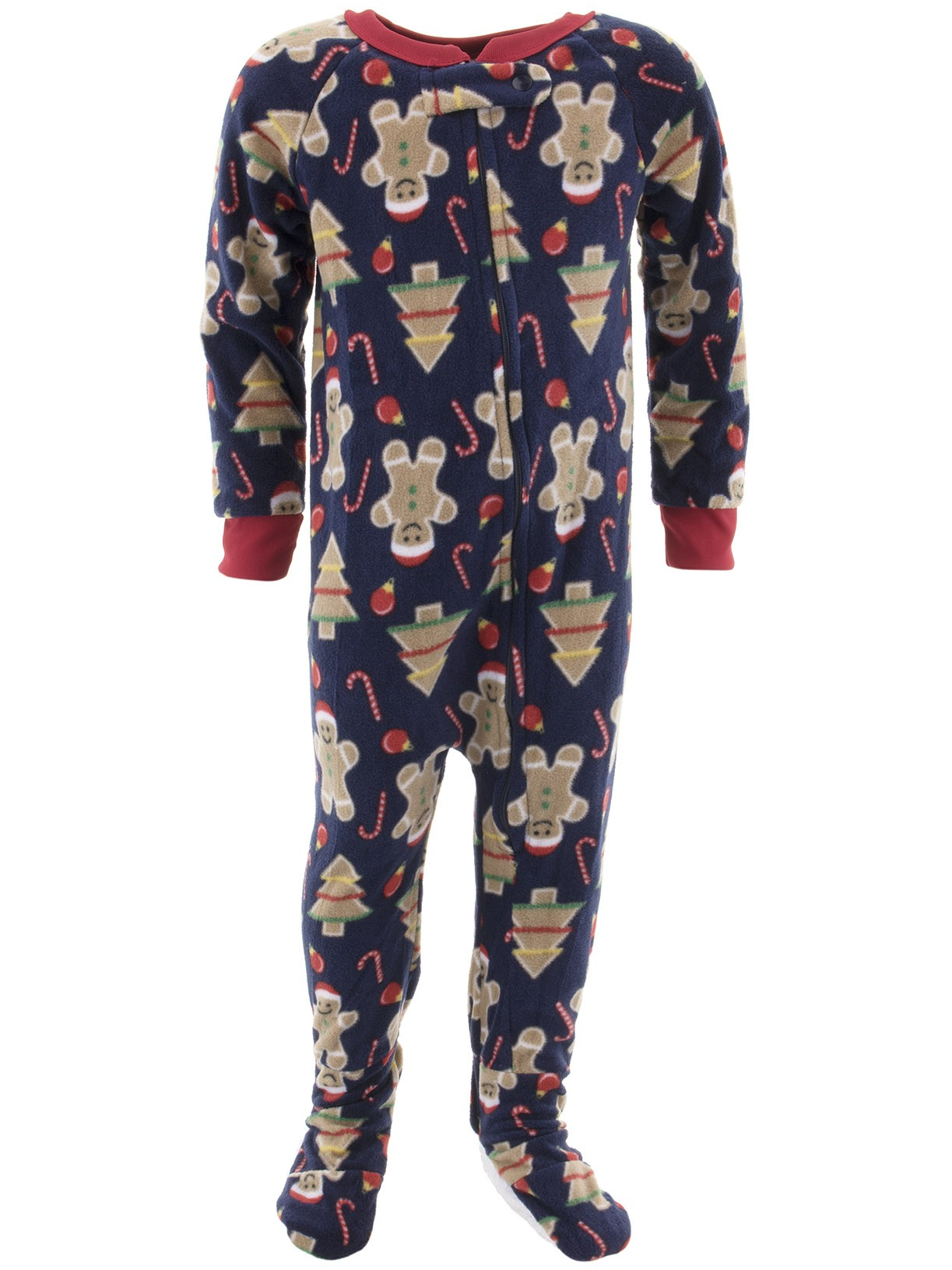 Mon Petit Boys Christmas Navy Footed Pajamas