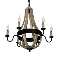 Canyon Home 6 Light Chandelier Tear Drop (Circled) Steel Frame with Wooden Pattern | Dining Room, Entryway, and Decorative Foyer Home Décor