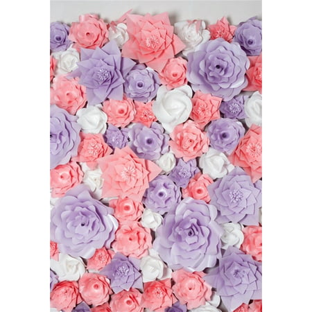 HelloDecor Polyster 5x7ft Paper Flowers Backdrop Party Decoration Photography Background Bridal Shower Baby Kid Girl Adult Artistic Portrait Activity Photo Shoot Studio Props Video Drop Drape ()