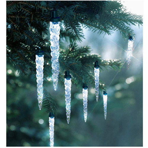 Holiday Time 30-Count LED Icicle Strands Christmas Lights, Cool White