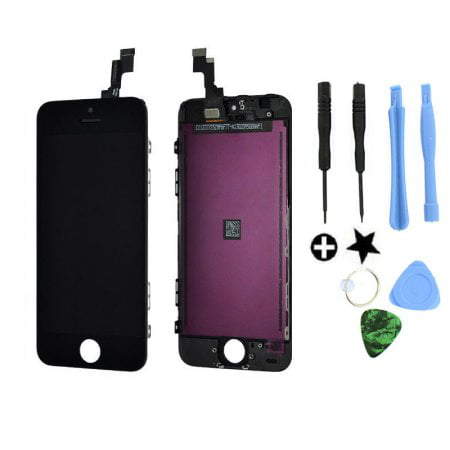 TekDeals Black LCD Display+touc hs creen Digitizer Assembly Replacement for iPhone 5S (Iphone 4 Digitizer Lcd Assembly)