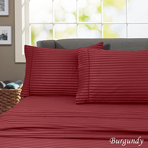 California king 600-Thread Count Wrinkle Resistant-Woven Stripe 100%Cotton 4 Piece Sheet Set (California King, Burgundy)