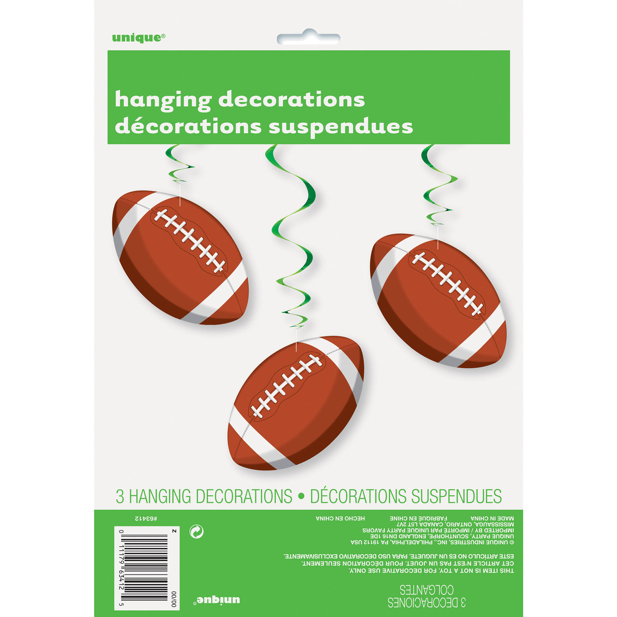 "32"" Hanging Football Decorations, 3-Count"
