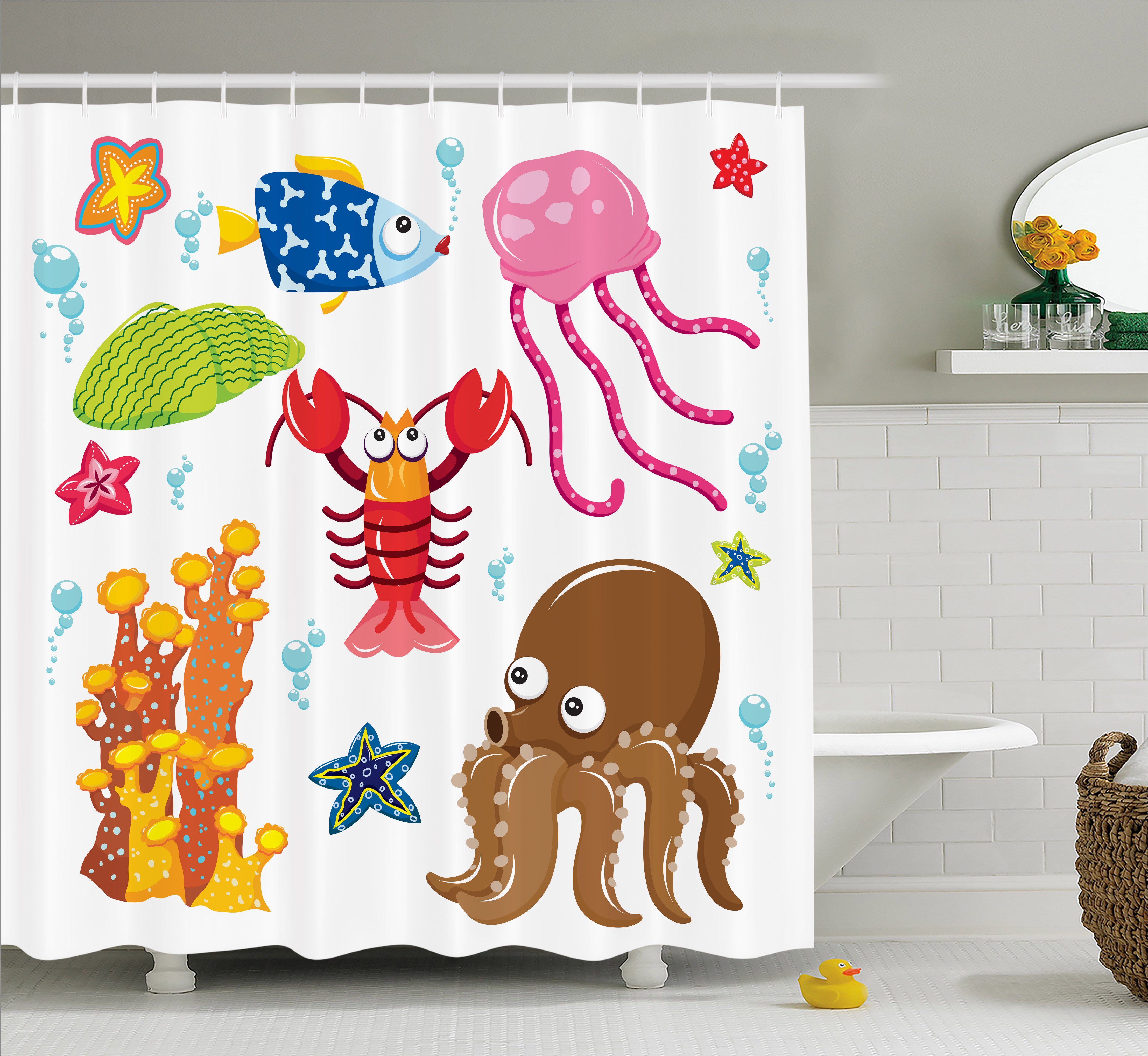 Toddler Shower Curtain, Under the Sea Wildlife Theme Funny Creatures in Cartoon Style Fun Ocean Aquarium, Fabric Bathroom Set with Hooks, 69W X 70L Inches, Multicolor, by Ambesonne