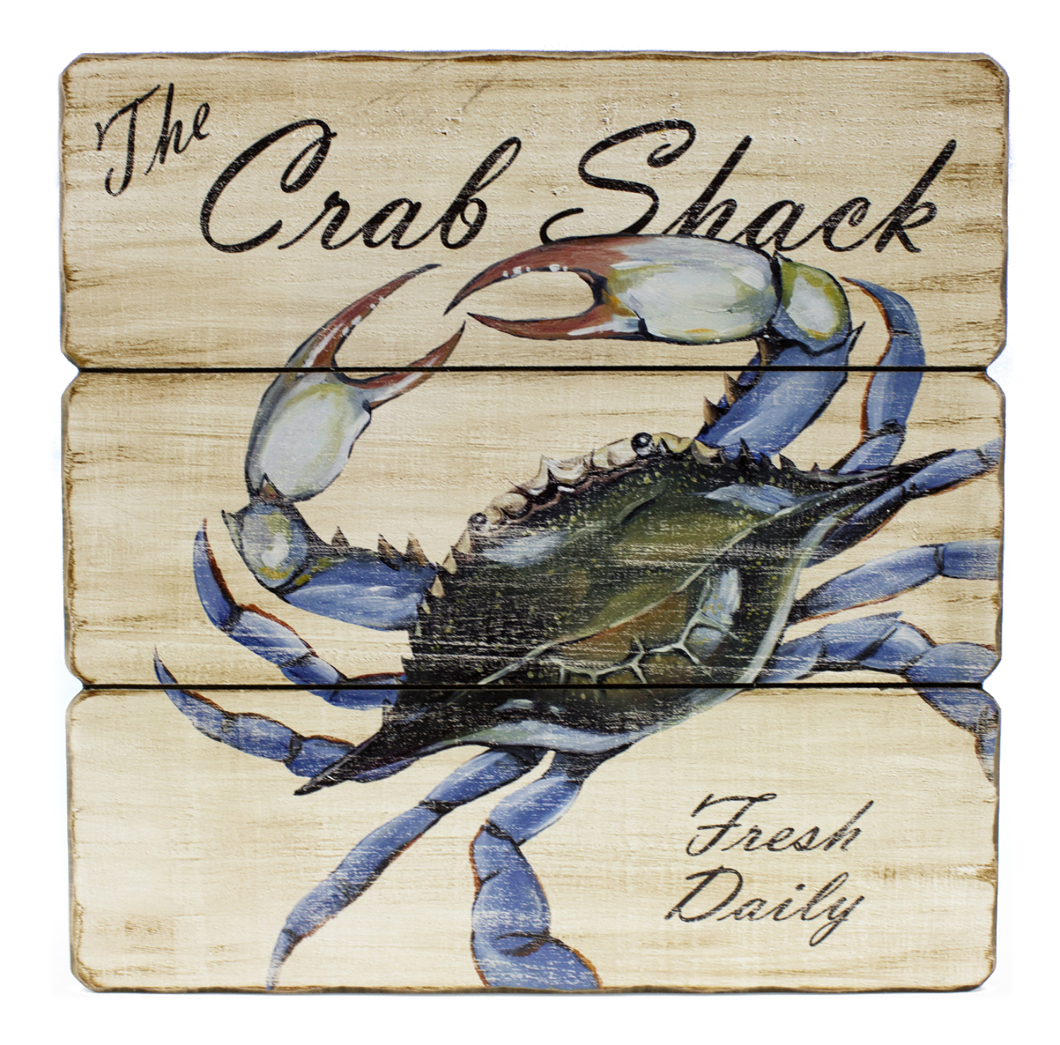 Blue Crab Shack Fresh Daily Wood Wall Sign 11.5 inches