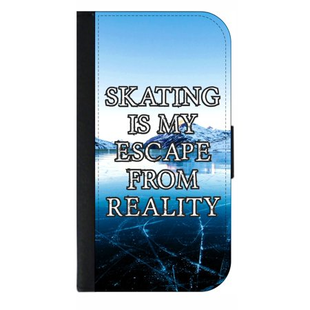 Skating is My Escape From Reality - Wallet Style Cell Phone Case with 2 Card Slots and a Flip Cover Compatible with the Standard Apple iPhone 7 and 8 (Block My Cell Phone Number From Telemarketers)