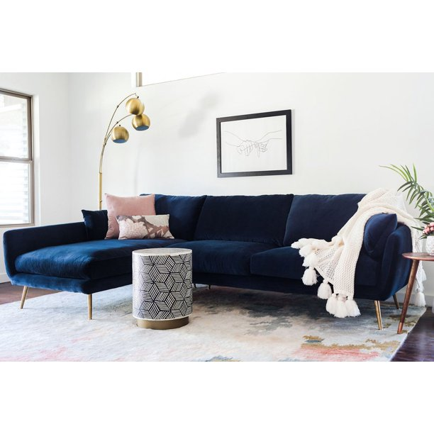 Harlow Sectional Sofa Left Facing In Navy Blue Velvet Walmart Com Walmart Com