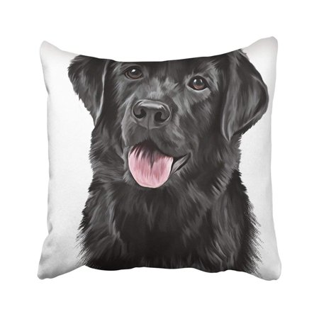 Profile Portrait (ARTJIA Lab Drawing Dog Breed Black Labrador Portrait Oil Painting On White Draw Head Profile Pillowcase Throw Pillow Cover 18x18 inches )