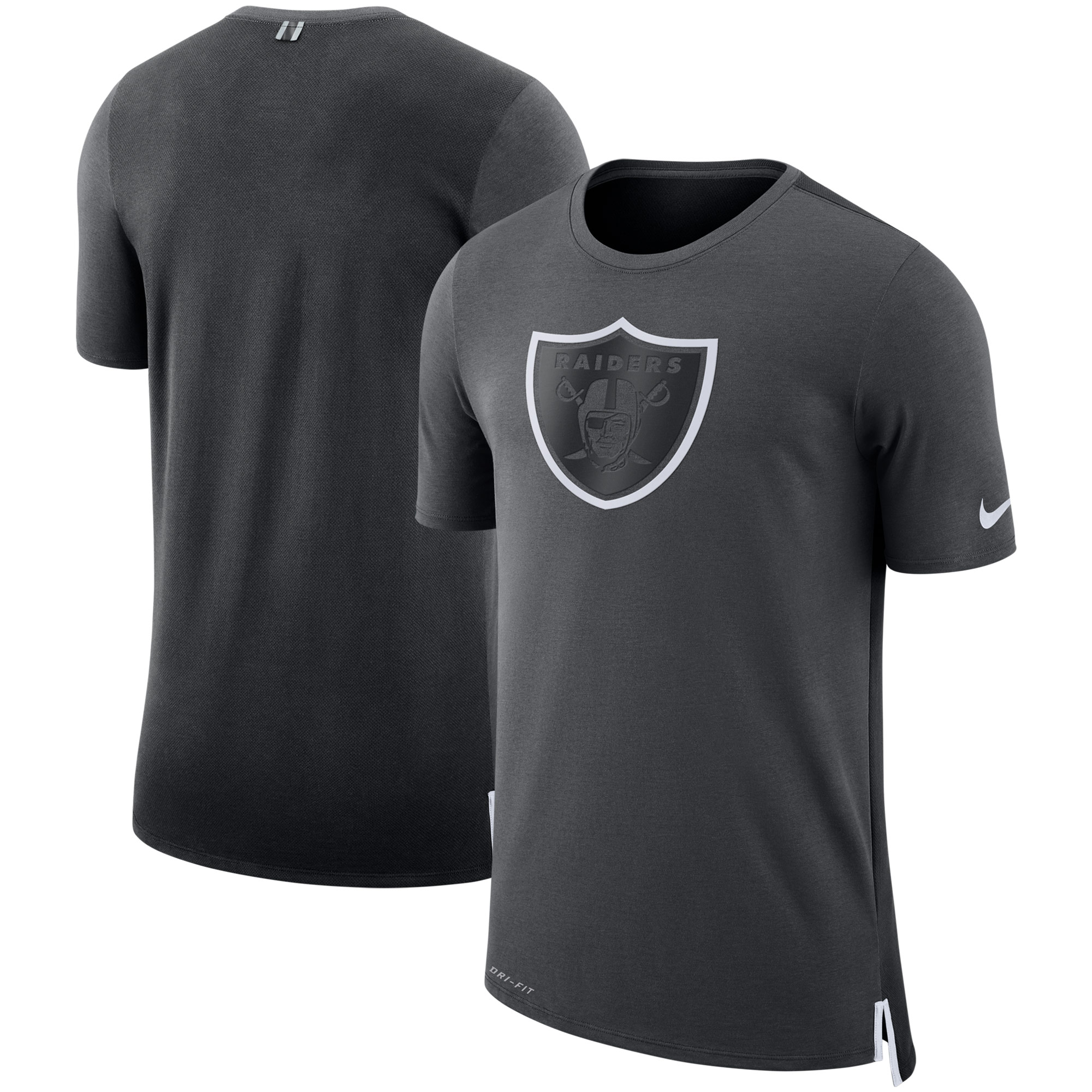 Oakland Raiders Nike Sideline Travel Mesh Performance T-Shirt - Charcoal/Black