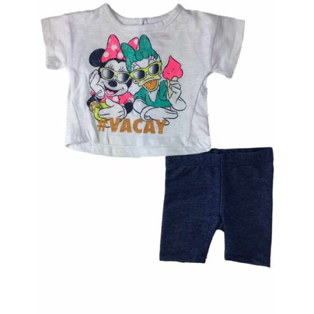 Infant Girls Disney Minnie Mouse & Daisy Duck #Vacay & Denim Shorts Outfit](Duck Outfit)