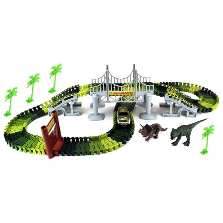 Dinosaur World Bridge Create A Road 142 Piece Toy Car & Flexible Track Playset w/ Toy Cars, 2 Dinosaurs