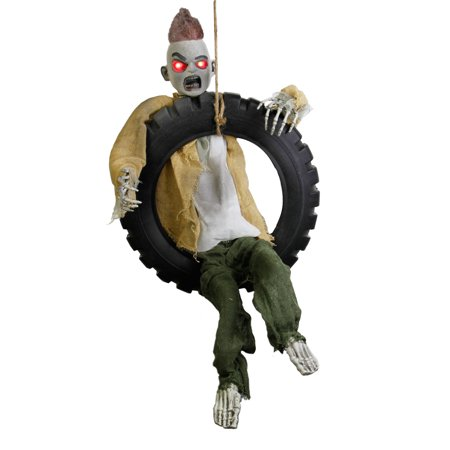 Halloween 3' Animated Hanging Swinging Tire Zombie Boy Reaper Prop Decoration for $<!---->