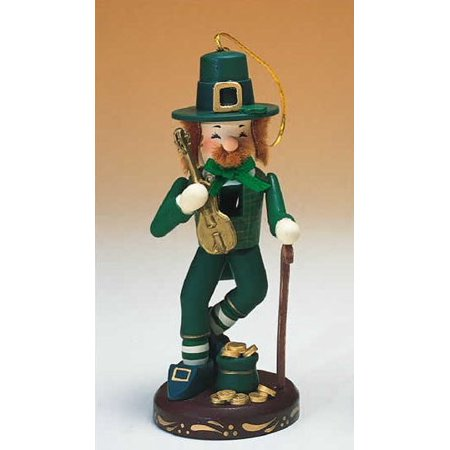 Zim's Heirloom Leprechaun with Pot of Gold Wooden Christmas Nutcracker 11 Inch