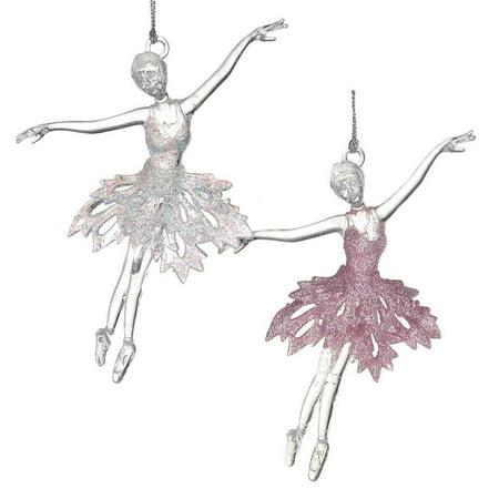 Acrylic Ballerina Dancer Christmas Tree Ornaments, Pink/White, 6-Inch, 2-Piece