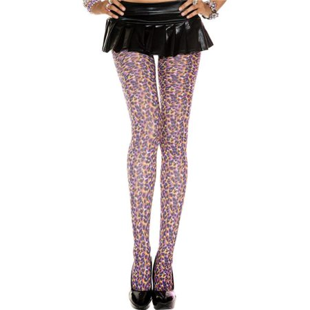 Music Legs 37394-RAINBOW-LEOPAR Multicolor Leopard Print Pantyhose - Rainbow & (Leopard Pantyhose)