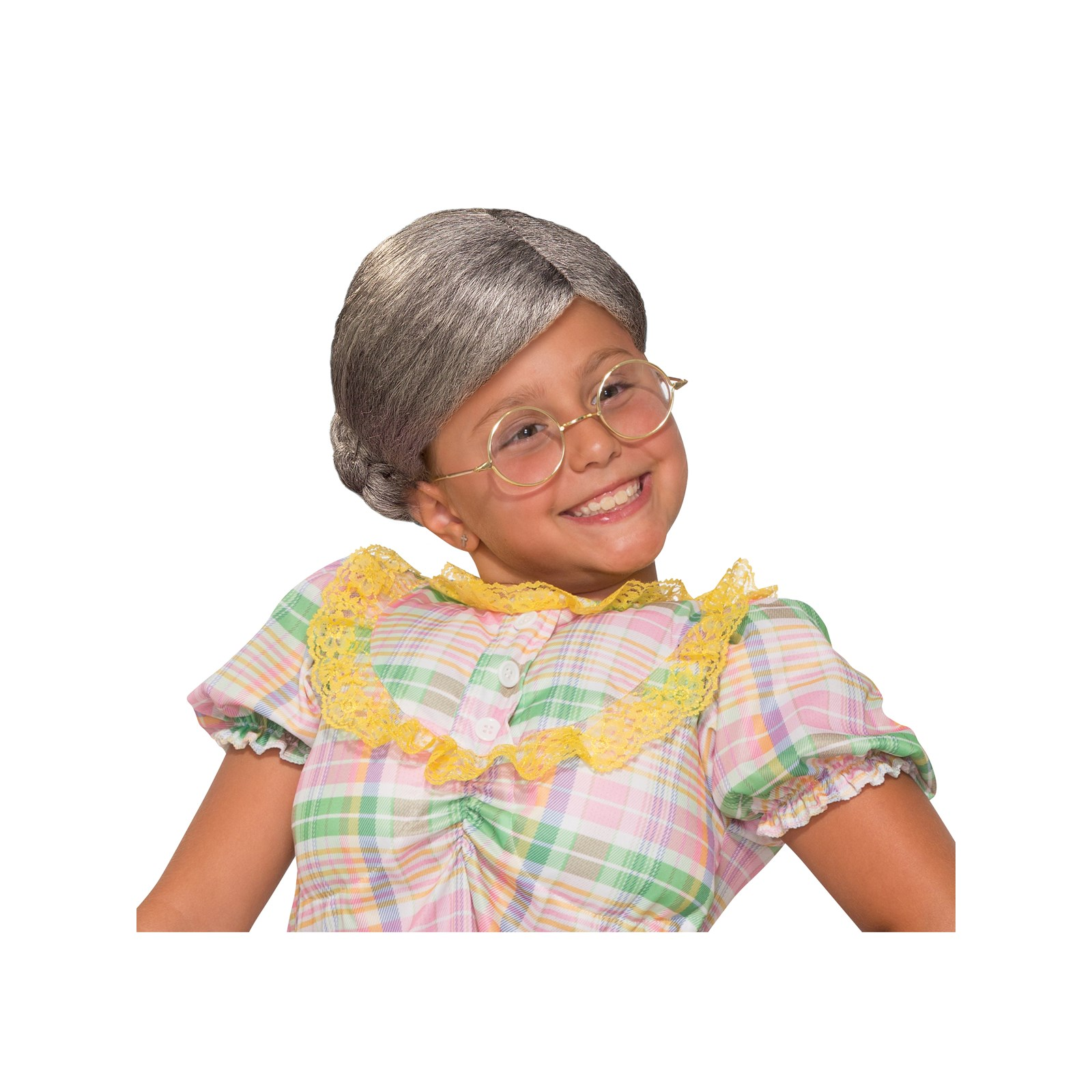 Child Old Lady with Bun Wig