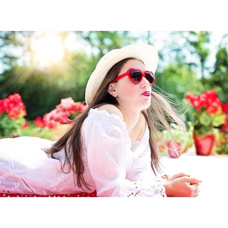 Framed Art for Your Wall Sunglasses Young Pretty Woman Summer Sunshine Hat 10x13 (Sunglasses Wall Art)
