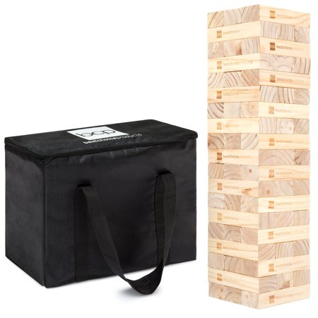 Best Choice Products Giant Wooden Tower Tumbling Block Stacking W Carrying Bag
