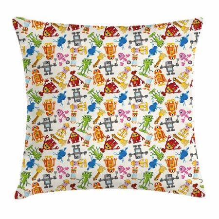 Kids Throw Pillow Cushion Cover Colorful Cartoon Robot Collection Boys Nursery Theme Futuristic Fantastic Science