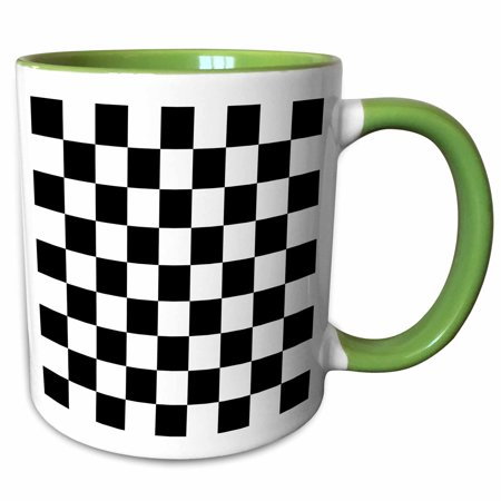 3dRose Check black and white pattern - checkered checked squares chess checkerboard or racing car race flag - Two Tone Green Mug, 11-ounce