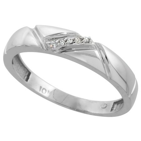 Cut Diamond Ring Band - 10k White Gold Mens Diamond Wedding Band Ring 0.03 cttw Brilliant Cut, 3/16 inch 4.5mm wide
