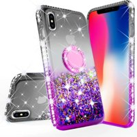 Glitter Cute Phone Case with Kickstand Apple iPhone Xs Max Case Bling Diamond Bumper Ring Stand Sparkly Clear Thin Soft Girls Women Purple