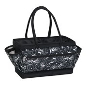 Everything Mary Large Craft Organizer Tote Bag, Black Floral - Storage Art Caddy for Sewing & Scrapbooking - Crafts Supply Carrier for Supplies & Tools - Organization for School, Medical, Office