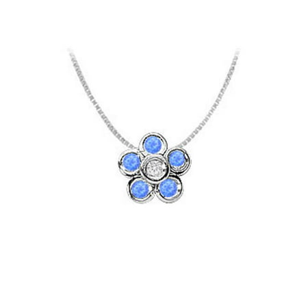 Half Carat Created Sapphire and Cubic Zirconia Bezel Set Flower Pendant in 925 Sterling Silver ()
