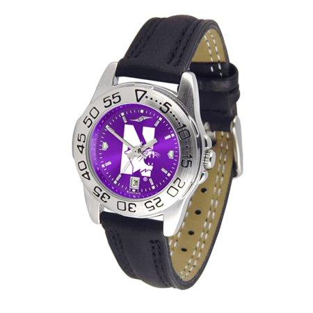 Northwestern Wildcats NCAA AnoChrome Sport Ladies Watch (Leather Band)