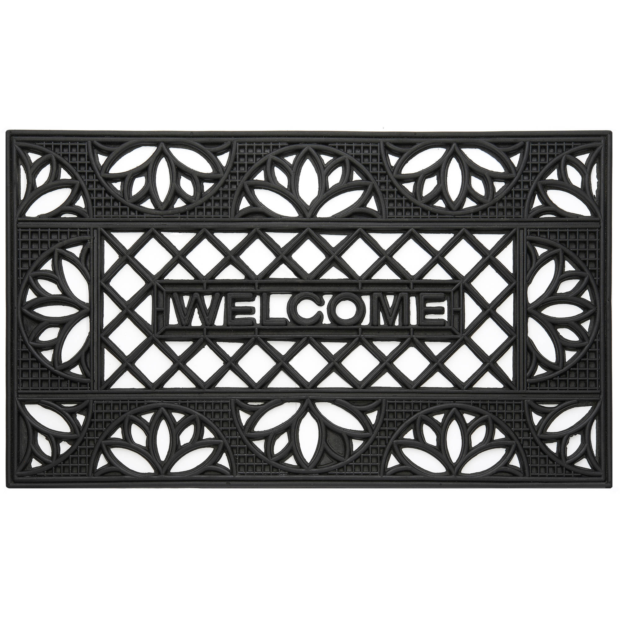 "Wrought Iron Rubber Doormat Tulip, 18"" x 30"""