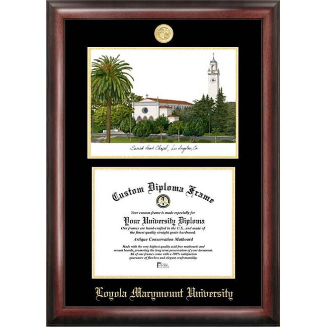 Campus Images CA927LGED Loyola Marymount Gold embossed diploma frame with Campus Images lithograph