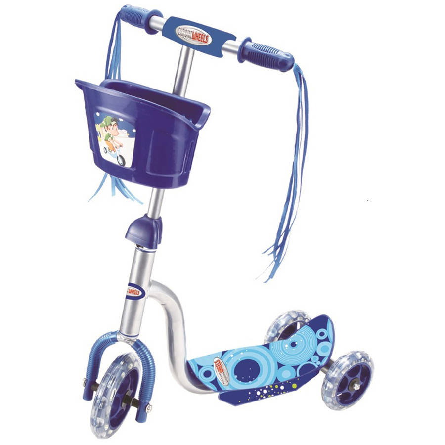 Vertigo 3-Wheel Scooter Glider with Basket and Light Up Wheels, Ages 3+, Assorted Colors