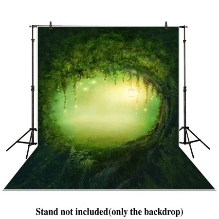 HelloDecor Polyster 5x7ft photography backdrops secret garden enchanted forest spring or summer trees forest grass Birthday party banner photo studio booth background newborn baby shower photocall (Enchanted Forest Party)
