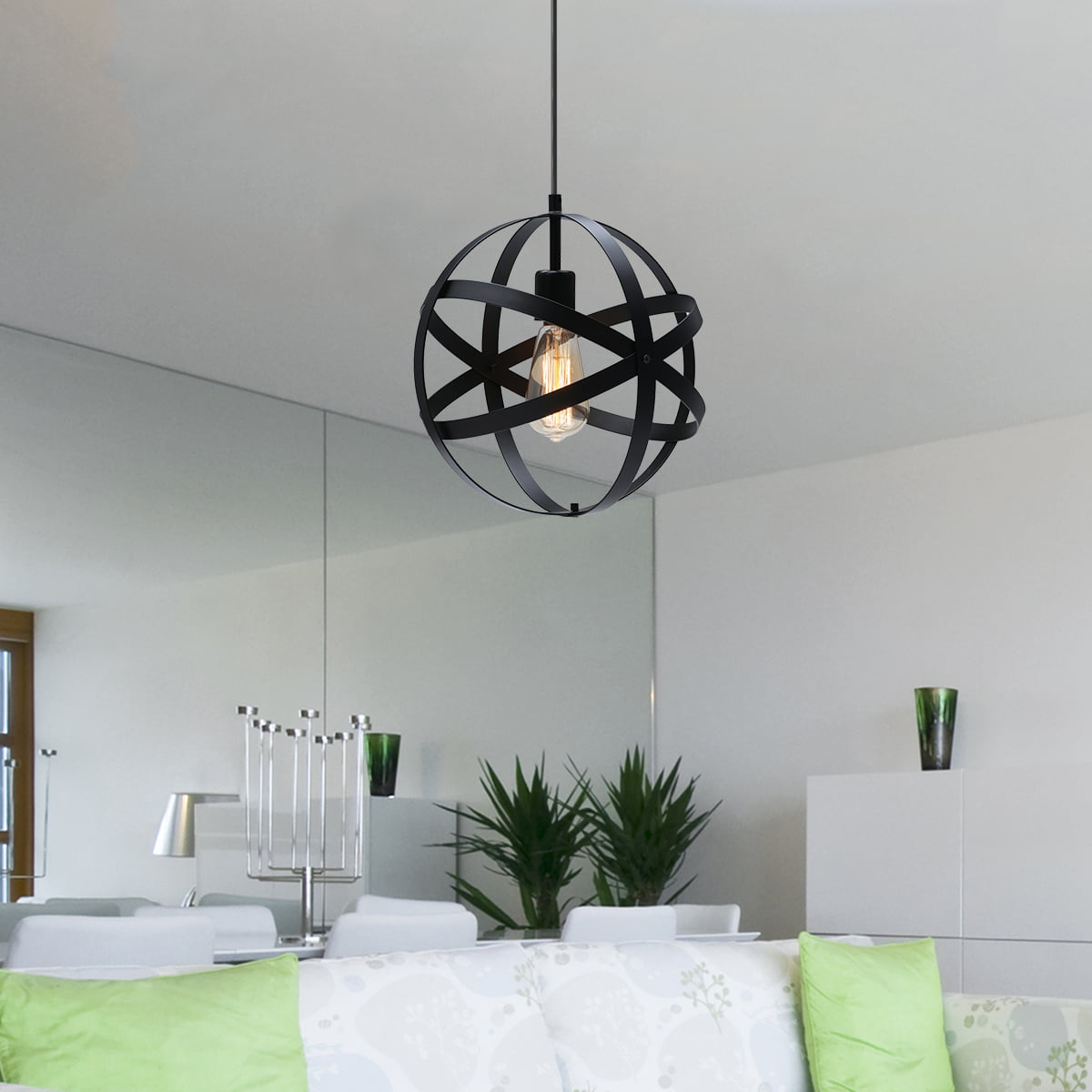 Picture of: Industrial Metal Pendant Light Spherical Pendant Light Rustic Chandelier Vintage Hanging Cage Globe Ceiling Light Fixture For Kitchen Island Dining Room Farmhouse Entryway Foyer Walmart Com Walmart Com
