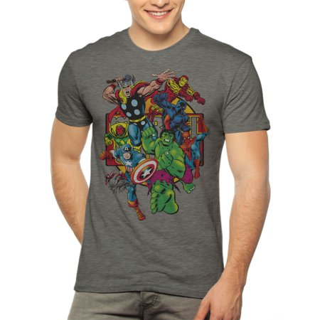 Marvel Avengers Comics Group Shot Men's Short Sleeve Graphic T-Shirt, up to 3XL