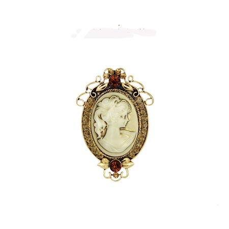 Yellow Gold Cameo Pin - Gold Tone Antique Color Crystal Cameo Brooch Pin Jewelry  BROOCH-02