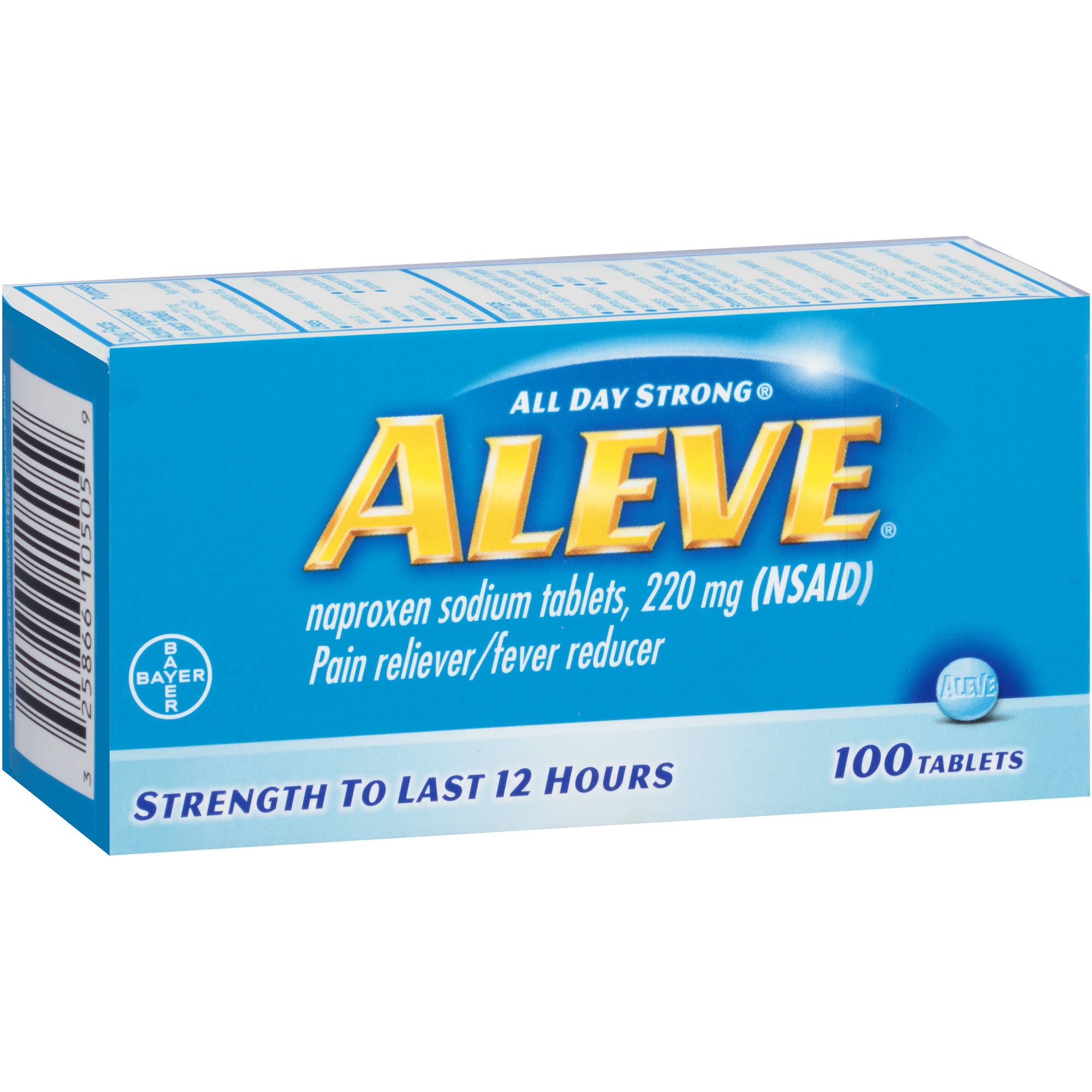Aleve Pain Reliever/Fever Reducer Naproxen Sodium Tablets, 220mg, 100 count