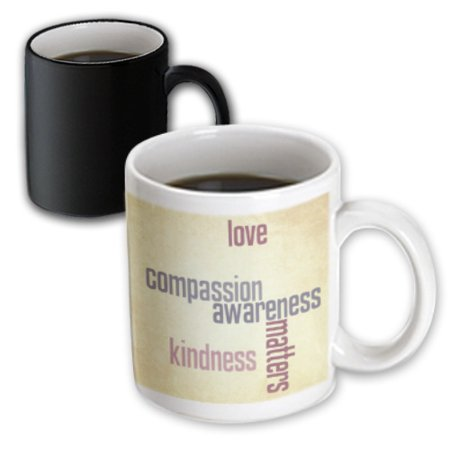 3dRose Vintage Paper Love and Kindness Matters- Inspirational Quotes, Magic  Transforming Mug, 11oz