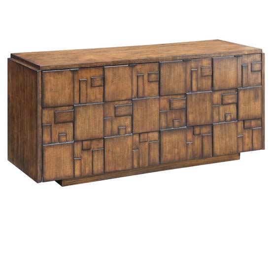 Hutchison 4 Geometric Door Sideboard Chestnut Finish by Crestview Collection