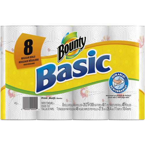 Bounty Basic Prints Paper Towels, 48 sheets, 8 rolls
