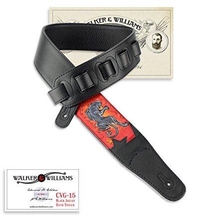 Hand Tooled Black Leather - Walker & Williams CVG-15 Black Top Grain Leather Strap Hand Tooled Black Jaguar