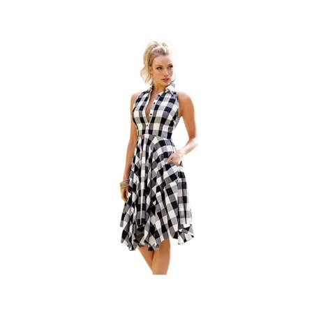 VICOODA Ladies Dress Women Vintage Plaid Sleeveless Zipper Irregular Hem Evening Party Dress Lapel Girls Dress Skir](Plaid Party Dresses)
